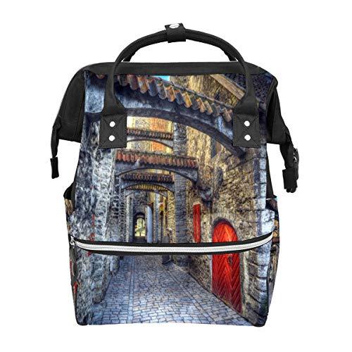 Mochila para pañales para mamá, papá, bolsas de pañales de maternidad, bolsa de gran capacidad, bolsa de transporte de pañales para niños y niñas, castillo antiguo