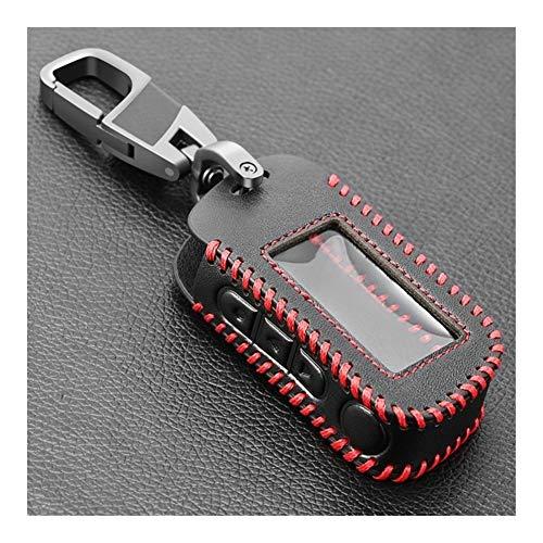 JHSHOP Autoschlüssel Abdeckung A93 A96 Keychain Schwarz-Leder-Abdeckung Schlüsseltasche for Star A93 A39 Zwei-Wege-Alarmanlage Fernbedienung A63 LCD-Transmitter Schlüsselbox (Color : Red Line)
