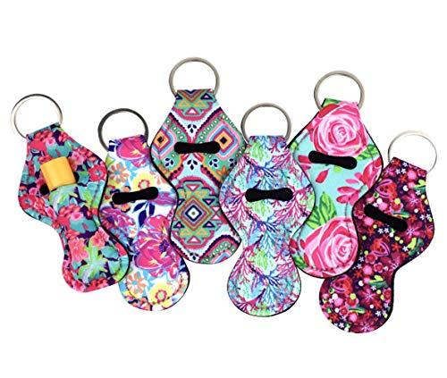 The Original Chapstick Holder Keychain, New Cute Design Neoprene Lip Balm Keychain Holder (Multicolor 6 Pack)