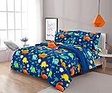 6 Piece Twin Kids Boys Comforter Set Bed in Bag w/Shams, Sheet Set & Decorative Toy Pillow, Dinosaurs Print Blue Green Boys Kids Comforter Bedding Set w/Sheets, Twin Size 6pc Dinosaurs