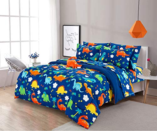 8 Piece Full Size Kids Boys Teens Comforter Set Bed in Bag with Shams, Sheet Set and Decorative Toy Pillow, Dinosaur Print Blue Green Boys Kids Comforter Bedding Set w/Sheets, Full 8pc Dinosaur