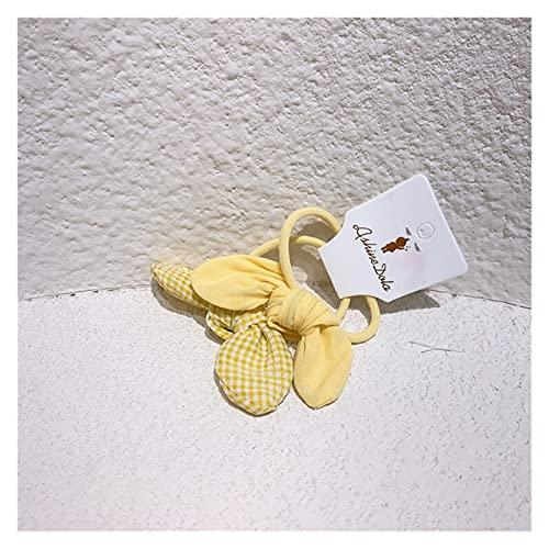 YINGNBH Cuerda de Pelo Nueva Tela de Tela Escocesa de bebé Corbatas de Pelo Chica Linda Color sólido Orejas de Conejo Banda de Caucho Cuerda para niños Accesorios para el Cabello (Color : 2)