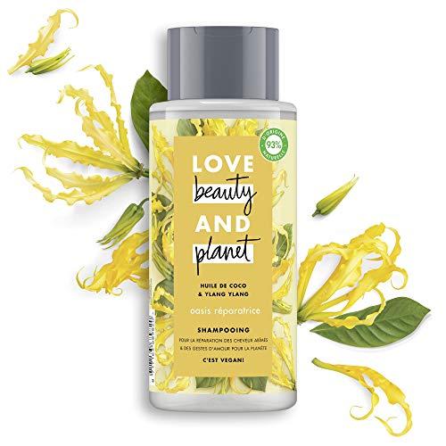 Love Beauty & Planet - Shampoo da donna Vegan Oasis riparatrice, olio di cocco biologico e fiore di Ylang Ylang, capelli rovinati certificati Vegan, 400 ml