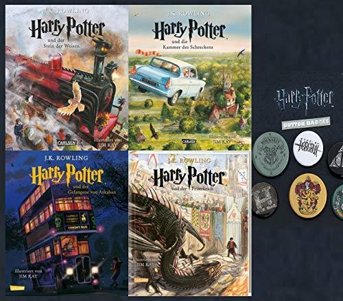 SCHMUCKAUSGABE: Harry Potter Band 1-4 + 1 Original Harry Potter Button (Stein der Weisen / Kammer des Schreckens / Gefangene von Askaban / Feuerkelch)