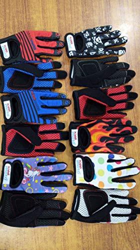 KIDDIMOTO Fahrradhandschuhe für Kinder, mit Fingern, pastellfarben, gepunktet, Größe S, 2–5 Jahre