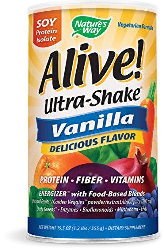 Nature's Way Alive! Soy Protein Isolate Ultra Shake + Fiber + Vitamins, Vanilla Flavored, 19.8 Ounce