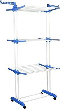 MYSA Steel Foldable Clothes Drying Stand for Balcony 3 Layer Cloth Dryer Rack with Wheels