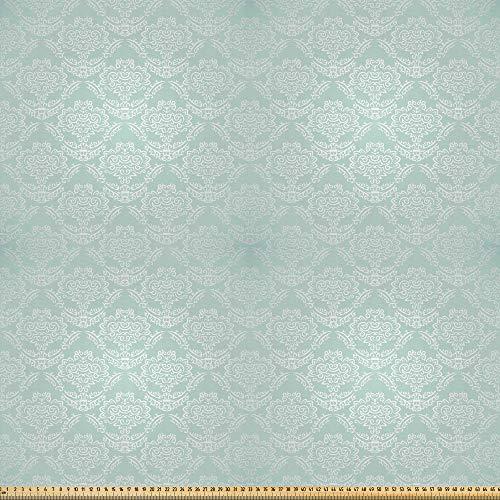 ABAKUHAUS viktorianisch Microfaser Stoff als Meterware, Barocke Damastmotive, Deko Basteln Polsterstoff Textilien, 2M (230x200cm), Mandelgrün und Weiß
