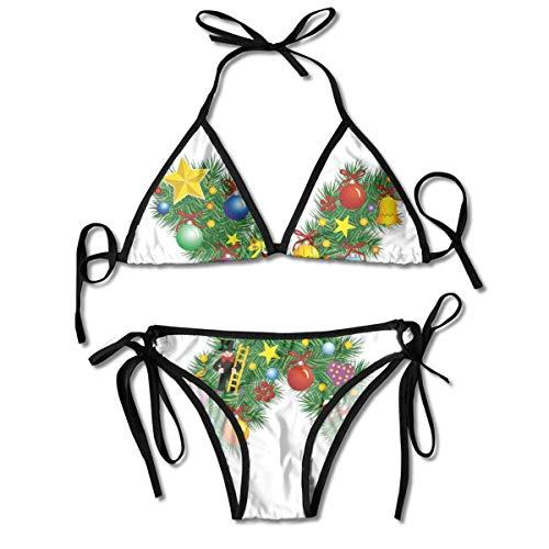 Bikini Badeanzüge Traditionelle Feier Nadelbaum Schrift mit fröhlichen Elemants auf X Bikini Sets Badeanzug Badeanzug