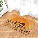 Decoración árabe A Man Lead Camel in Desert Under Sunset Alfombras de baño Alfombrilla antideslizante Entradas de piso Alfombra de puerta de entrada interior al aire libre Alfombra de baño para niños
