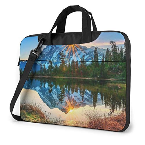 Laptop Case, Mountain Sunrise Print Laptop Shoulder Bags Multi-Functional Notebook Sleeve,13-14-15.6 Inch