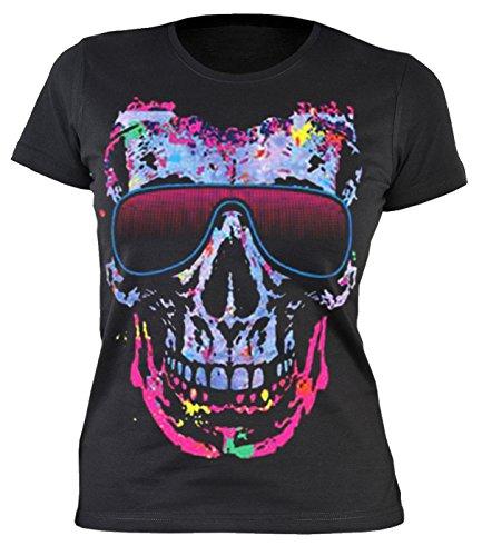 Damen T-Shirt mit coolem Motiv: Shady Character - Bunter Totenkopf mit Sonnenbrille - Sexy Girlie Shirt - Nette Geschenkidee - schwarz