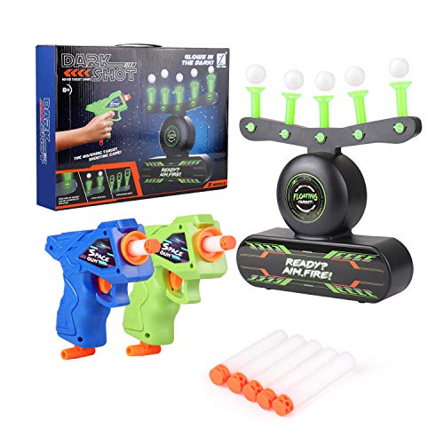 lyyxll Shooting Target Games, Glow in Dark Target Floating Ball Shooting Game for Kids with Two Foam Dart Shooting Toys, 10 Floating Ball Targets, and 5 Knockdown Targets