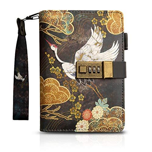 MARSACE Cuaderno Impermeable Diario de Viaje Retro Agenda Bloc Notas con Cerradura Portabolígrafo Rellenable PU Journal 80 Hojas 18.5x13 CM Grua