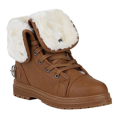 Warm Gefütterte Damen Stiefeletten Worker Boots Outdoor Schuhe 150381 Braun Arriate 38 Flandell
