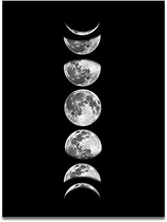 OCIOLI Moon Phrase Canvas Wall Art Print Unframed,Artwork Abstract Space Black and White Galaxy Pictures for Living Room Bedroom (16x24 inch, Black)