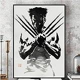 feilongzaitian Wolverine Schwarz-Weiß-Comic-Wandkunst