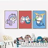 Cuadro de pared para habitación y decoración del hogar, adhesivo artístico para pared, película de anime japonés, papel Kraft blanco, pintura, póster con impresión artística | 30x40cmx3 sin marco