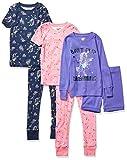 Spotted Zebra 6-Piece Snug-Fit Cotton Pajama Set Sets, Rock Unicorn, S, Pack de 6