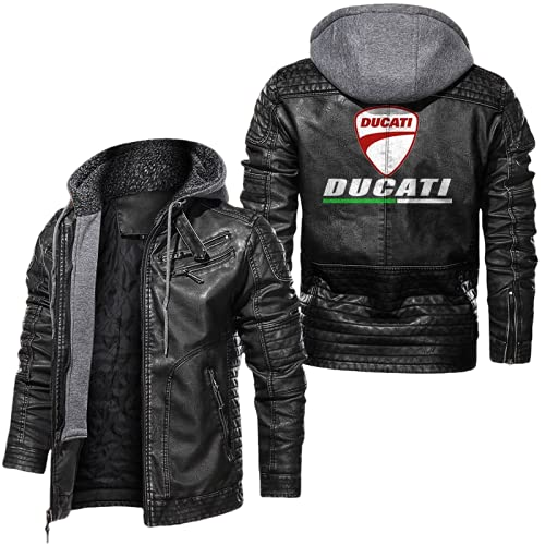 CONVERMPU Chaqueta de bombardero de piel sintética para hombre chaqueta cortavientos Du-Cati chaqueta de carreras chaqueta de cuero de moda de motocicleta superior Sobretodo/A/XL