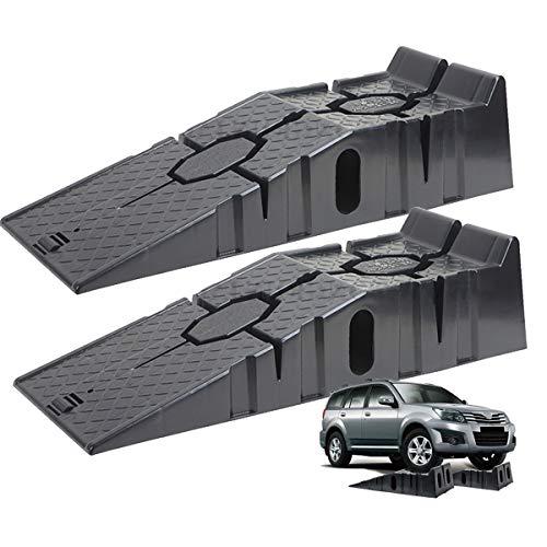 RZ TOOLS Set 2 Rampas para Coches 2500 KG 2,5 Toneladas de Plastico Muy Resistentes para Turismos o Furgonetas [ 90 x 33 x 22 cm ]