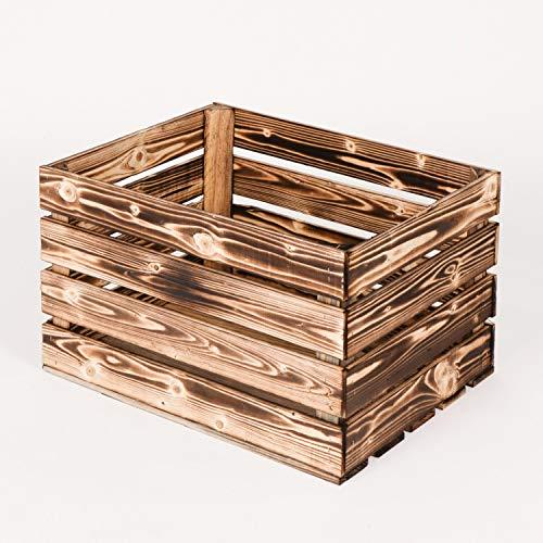 LAUBLUST Vintage Holzkiste Geflammt | Aufbewahrungskiste 50x40x30cm - XL | Weinkiste & Obstkiste - Möbelkiste & Deko
