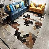 QJWY-Home Alfombra De Salón Moderna Alfombra poliéster y alfombras para Salón Dormitorio Comedor diseño Tapete Marrón Beige Mostaza Verde Mosaico geométrico Hexagonal-1.6x2.3M