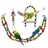 DBAILY Altalena per Uccelli Pappagallo, 3pcs Natural Uccelli Masticano Giocattoli in Legno Arcobaleno Appendere Campana per Animali per Pappagalli Parrocchetti Calopsiti (Colore Casuale)
