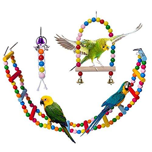 DBAILY Juego de Juguetes para Loros, 3pcs Colgar Campana de Mascota Jaula de Pájaros Colorful Pájaro Swing Juguetes para Masticar para Aves Periquitos Pinzones(Color Aleatorio)