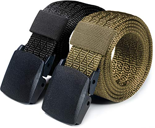 CQR Tactical Belt, Military Style Heavy Duty Belt, Lightweight Nylon Webbing EDC Buckle, 2pack Plastic Full Cover Black/Khaki, XXL[w44-46]