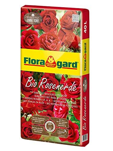 Floragard Bio Rosenerde ohne Torf 40 L • Spezialerde • für Kübel-, Kletter- und Beetrosen • mit Bio-Dünger • torffrei