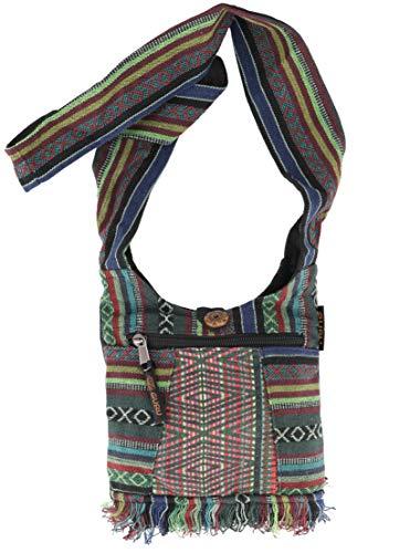 GURU SHOP Kleine Ethno Schultertasche, Hippie Tasche, Goa Tasche - Grün, Herren/Damen, Baumwolle, Size:One Size, 17x20 cm, Alternative Umhängetasche, Handtasche aus Stoff