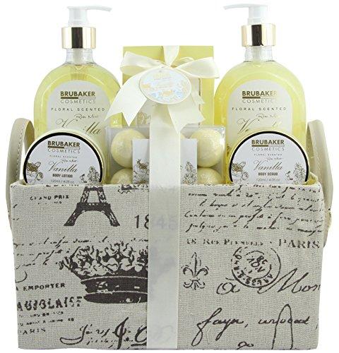 BRUBAKER Cosmetics Set de Baño y Ducha»Vanilla Golden Paradies»- Fragancia Rosas de Vainilla y Menta – Set de regalo de 12 piezas en estuche vintage con asa.