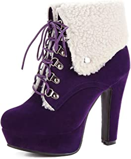 Judy Bacon Women's Waterproof Faux Fur Lined Lace Up High Heel Platform Ankle Winter Boots