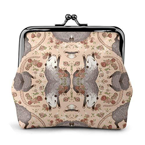 Cartoon Opossum und Rosen, stilvolle und praktische Lederwechsel, ein Geschenk für Frauen.