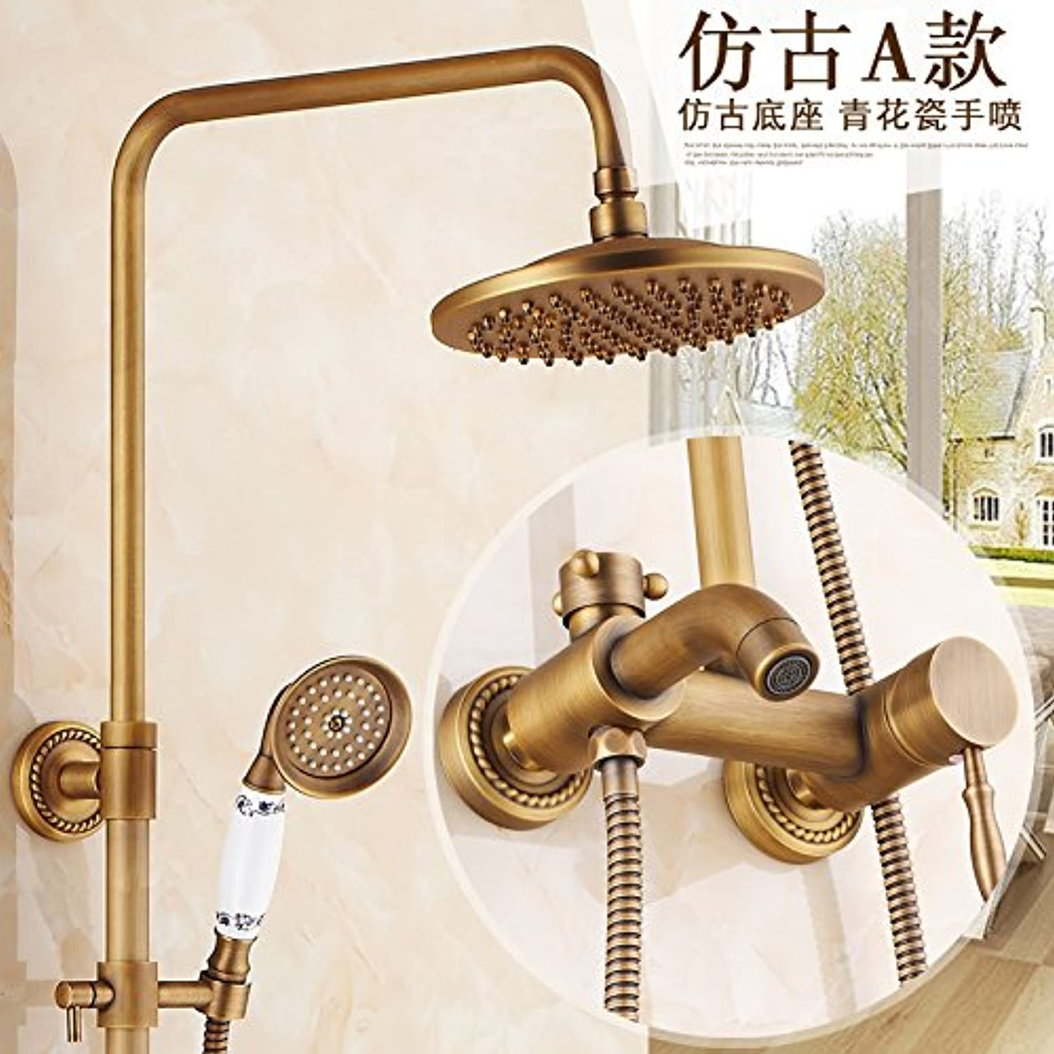 Hlluya Professional Sink Mixer Tap Kitchen Faucet Antique faucets full copper shower set bathroom shower with hot and cold running water taps, water faucet,