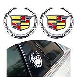 For Cadillac Logo Emblem - 2pcs Silver Grille Wreath and Crest Decal Stickers - 6cm 3D Metal Symbol Emblem for Escalade ATS SRX XTS CTS XT5 XLR