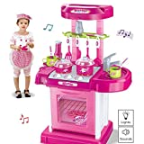 Vokodo Deluxe Toy Kitchen Playset 2 Feet Tall With Pots Oven Stove Sink Appliances Lights And Sounds Kids Pretend Play Cook Chef Early Learning Educational Great Gift For Preschool Children Girls Boys