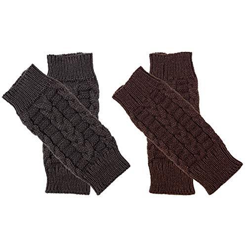 Cosweet 2 Paar fingerlose warme Handschuhe für Damen, gehäkelt, gestrickt, mit Daumenloch - - Medium