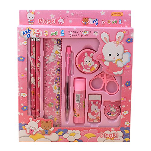 Mmrm Cute Kids Stationery Sets for School Student Birthday Christmas Gift (Pink)