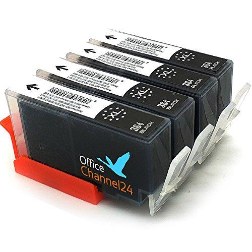 4X OfficeChannel24 Tintenpatronen kompatibel für hp 364 XL schwarz mit Chip für HP Photosmart 5510 5514 5515 5520 5522 5524 6510 6520 6525 7510 7520 DESKJET 3070A 3520 3522 OFFICEJET 4620 4622