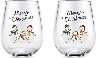 Yalucky Verres à vin Rouge Noël Bonhomme de Neige Verre a Eau Verres à vin Verre Whisky,verrine verrines en Verre,Vaissell...