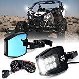 Xprite Aluminium UTV Rear View Side Mirrors with LED Spot Lights and Smoke Lens fit 1.5-2 Inch Roll Bar Cage for Polaris RZR XP 1000, ATV, UTV, Side by Side, CAN-AM Maverick X3, Teryx, Yamaha