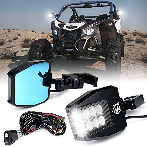 Xprite Aluminium UTV Rear View Side Mirrors with LED Spot Lights and -