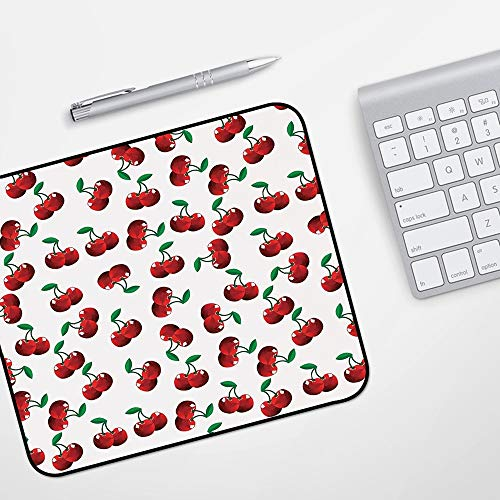 Waterproof Gaming Mouse Mat for Mouse,Fruits,Vibrant Cherries Vitamin Agriculture Exotic Summer Garden Pattern,Ruby Hunter Green Coconut,Stitched Edges Gaming Mouse Pad Mat Smooth Comfortable