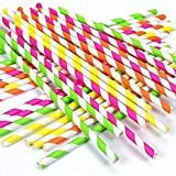 KURUPPATH Group Printed Paper Straw for Shakes, Sodas, Cold Drinks (Pack of 100)