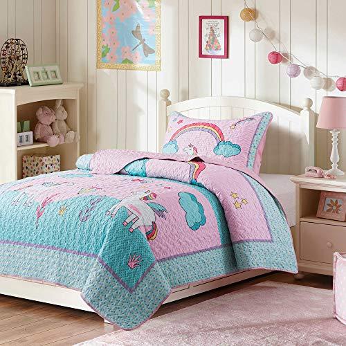 SLPR Unicorn Dreams Bedding Quilt Set - Twin with 1 sham | Summer Lightweight Quilted Bedspread for Kids