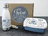 GRAZDesign Personalisierte Trinkflasche und Brotdose als Geschenkbox, für Jungen mit Namen Motiv Dinos