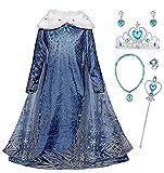 LOBTY Niñas Cosplay Vestido de Princesa Elsa con Capa Vestido de Nieve Manga Larga Vestido Largo Disfraz Azul Dulce Disfraz Ceremonia de Fiesta Halloween Navidad 3-9 años 110-150cm