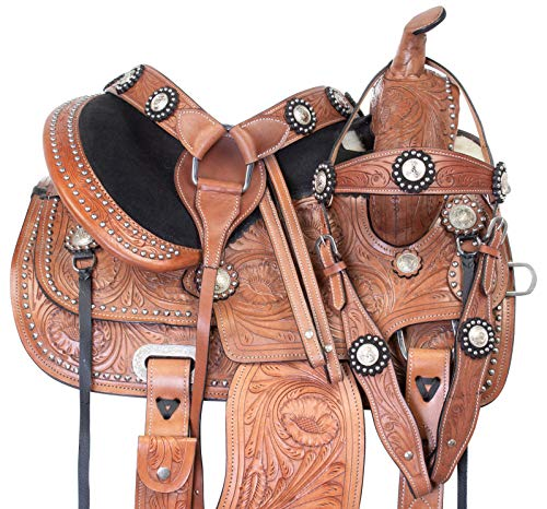 "Acerugs 10"" 12"" 13"" Western Youth Kids Leather Tooled Rodeo Barrel Racing Crystal Bling Child Horse Pony Saddle TACK Set Headstall REINS Breast Collar (Silver Studded, 14"")"